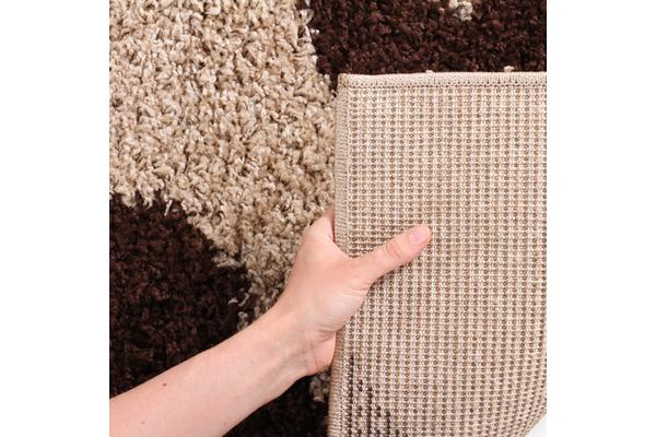 Damask Pattern Shag Rug Beige Brown 170x120cm