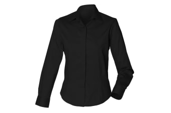 Henbury Womens/Ladies Long Sleeve Oxford Fitted Work Shirt (Black)