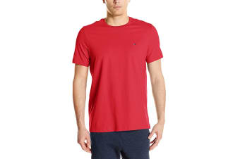 Tommy Hilfiger Men's Crew Neck Flag Tee (Mahogany)