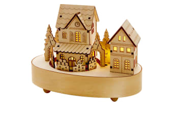 Christmas Shop Battery Operated Musical Lit Wooden House (Standard)