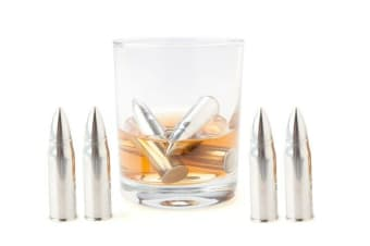 Set of 4 Whisky Whiskey Bullets Stainless Steel Frozen Chillers with Velvet Bag