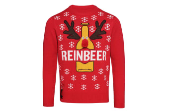 Christmas Shop Unisex Adults Reinbeer Christmas Jumper (Red)