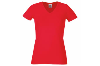 Fruit Of The Loom Ladies/Womens Lady-Fit V-Neck Short Sleeve T-Shirt (Red)