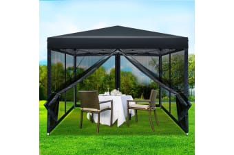 Pop Up Gazebo 3x3m Wedding Marquee Mesh Side Wall Outdoor Gazebos BK