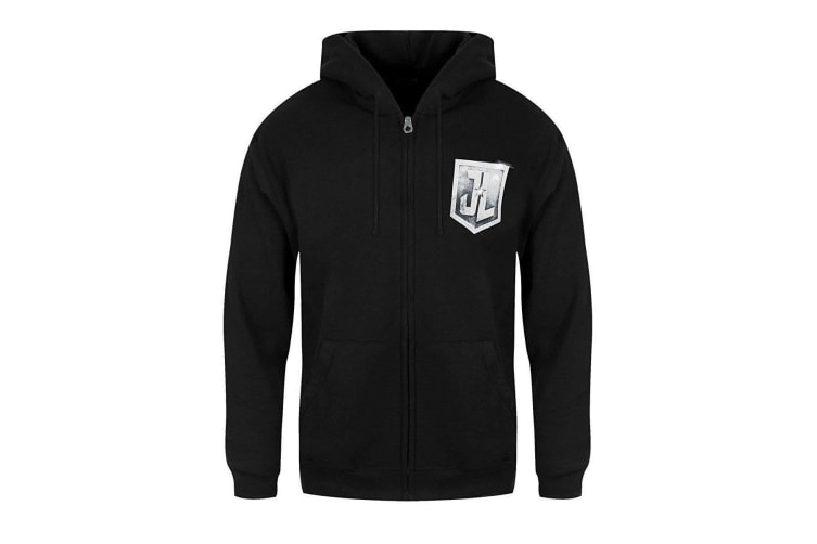 Justice League Unisex Adults Logo Design Zipped Hoodie (Black) (S)