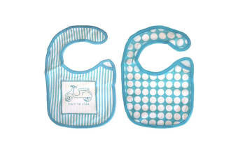 2Pcs Teal Baby Infant Cotton Bib Motorbike/Scooter/Striped/Polka Dots/Boy/Girl