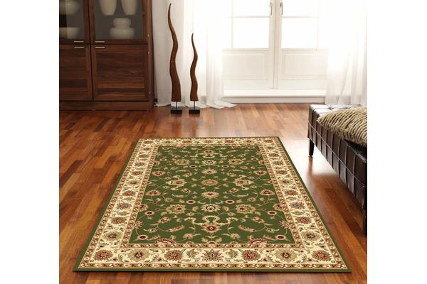 Classic Rug Green with Ivory Border 230x160cm