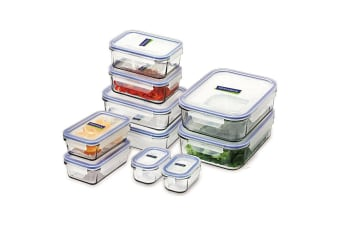 GLASSLOCK MICROWAVE SAFE CONTAINER SET W/ LID 10pc TEMPERED GLASS