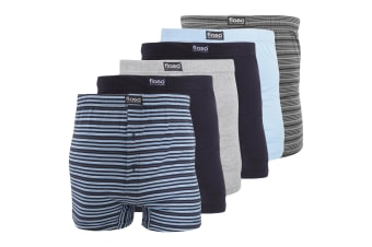 FLOSO Mens Cotton Mix Boxer Shorts (Pack Of 6) (Navy/Blue/Grey)