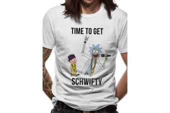 Rick And Morty Adults Unisex Adults Time To Get Schwifty T-Shirt (White) (S)