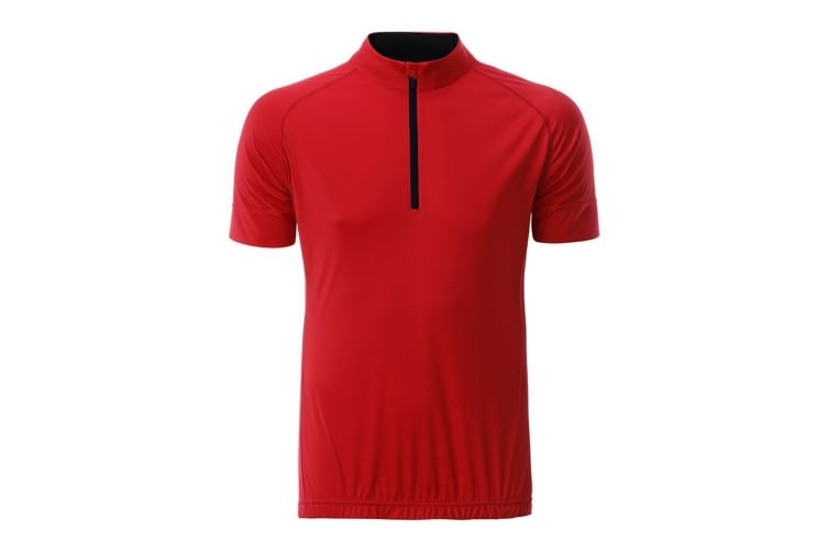 James and Nicholson Mens Half Zip Bike T-Shirt (Tomato Red/Black) (XL)