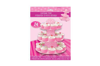 Unique Party Reusable Cardboard Cupcake Stand (Pink) (One Size)