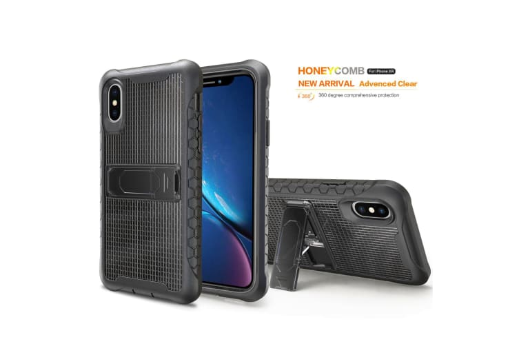 Black Honeycomb For iPhone XR Case Armour Phone Cover KickStand