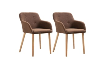 vidaXL Dining Chairs 2 pcs Brown Fabric and Solid Oak Wood
