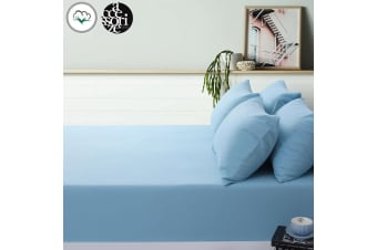 Blue Cotton Flannel Fitted Sheet Set Single