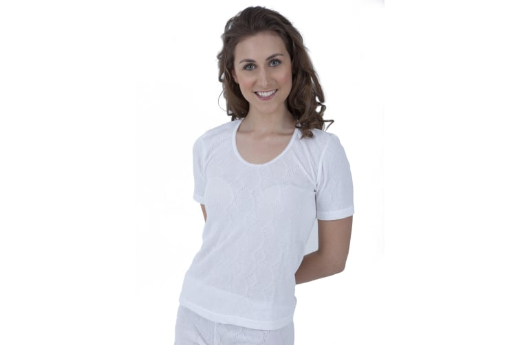 Ladies Thermal Wear Short Sleeve T Shirt Polyviscose Range (British Made) (White) (Bust Fit: 42-44inch (18-20))