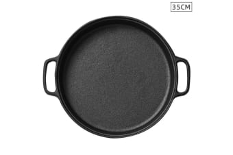 SOGA Cast Iron 35cm Frying Pan Skillet Non-stick Coating Steak Sizzle Platter