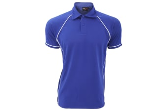 Finden & Hales Mens Piped Performance Sports Polo Shirt (Royal/White)