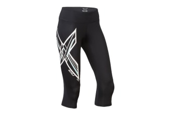 2XU Women's Ice X Mid-Rise Comp 3/4 Tights (Black/Metallic White Aruba, Size XS)