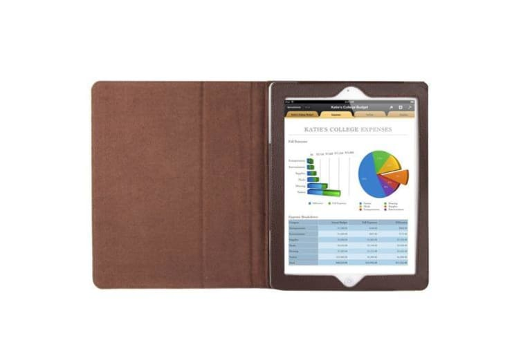 For iPad 2/3/4 Case Modern Lychee Leather High-Quality Shielding Cover Coffee