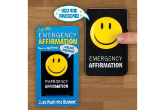 Emergency Affirmation Button – Ego Boost Pick Me Up Funny Desktop Gadget Noise Positive Gag