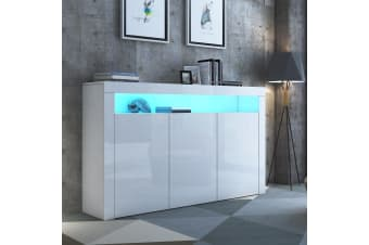 Modern 3 Doors Buffet Sideboard Dresser Storage Cabinet High Gloss Cupboard - White