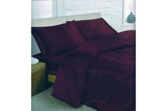 Charisma Satin Bedding Set (Duvet Cover  Fitted Sheet & Pillowcases) (Purple) (Super King Bed)