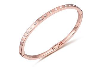 In-Line Bangle 60mm w/Swarovski Crystals-Rose Gold/Clear