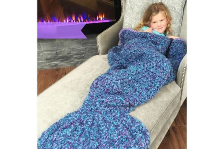 Knitted Mermaid Tail Blanket Crochet Leg Wrap Kids Child Dark Blue 130X60Cm