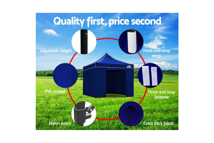 Pop Up Gazebo 3x3m Folding Wedding Marquee Tent Gazebos Shade Blue