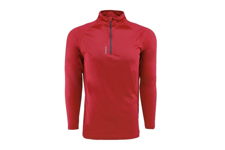 Reebok Men's Play Dry 1/4 Zip Jacket (Red, Size XL)