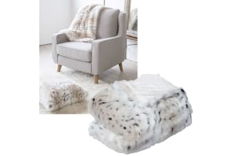Luxury Faux Fur Throw Rug Cream Snow Leopard 125 x 150 cm by J.elliot