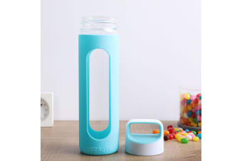 Gourmet Kitchen 2 Piece Glass Water Bottle With Silicone Cover Set/Green