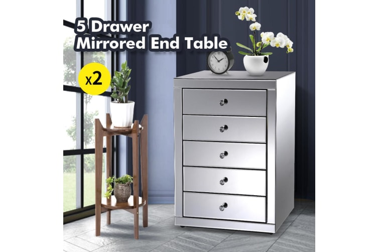 2x Levede Bedside Tables Nightstands 5 Drawers Side Table Mirrored Storage Cabinet
