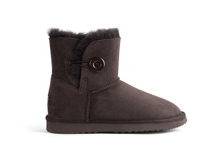 Outback Ugg Boots Mini Button - Premium Sheepskin (Chocolate, 12M / 13W US)