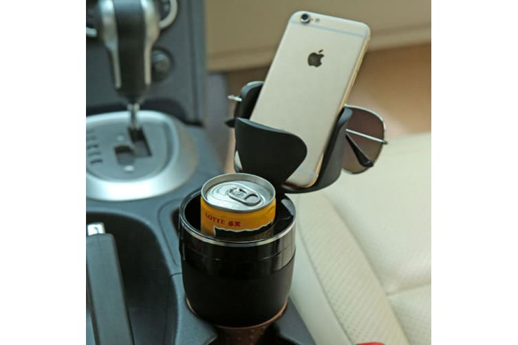 2PK 5 in 1 Multi-Use Car Organiser Cup Holder f/Drinks/Phone/Sunglass/Coins GN