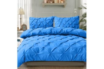 Diamond Pintuck Duvet/Doona/Quilt Cover US Size in SKY BLUE - Queen