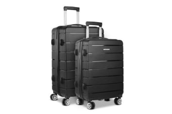 Wanderlite 2PC Luggage Suitcase Trolley (Black)