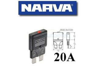 NARVA 20A CIRCUIT BREAKER REPLACES STANDARD BLADE FUSE BATTERY 20 AMP 12V 55720