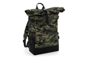 BagBase Block Roll-Top Backpack (Jungle Camo/Black) (One Size)