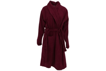 Forever Dreaming Womens/Ladies Shawl Collar Towelling Gown (Burgundy)