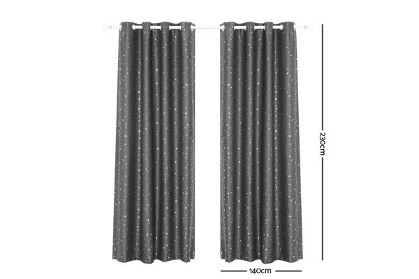 Art Queen 2 Star Blockout 140x230cm (Black)out Curtains (Grey)