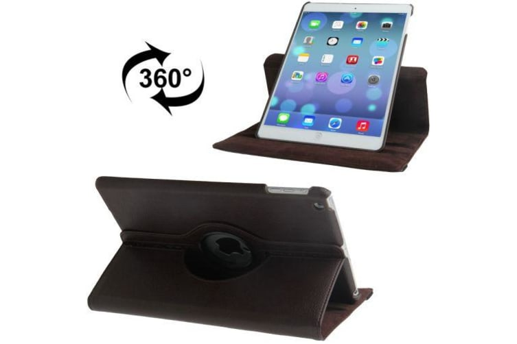 For iPad Air Case Brown Rotatable Leather Durable High-Quality Shielding Cover