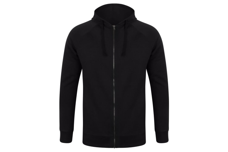 SF Unisex Adults Slim Fit Zip Hooded Sweatshirt (Black) (L)