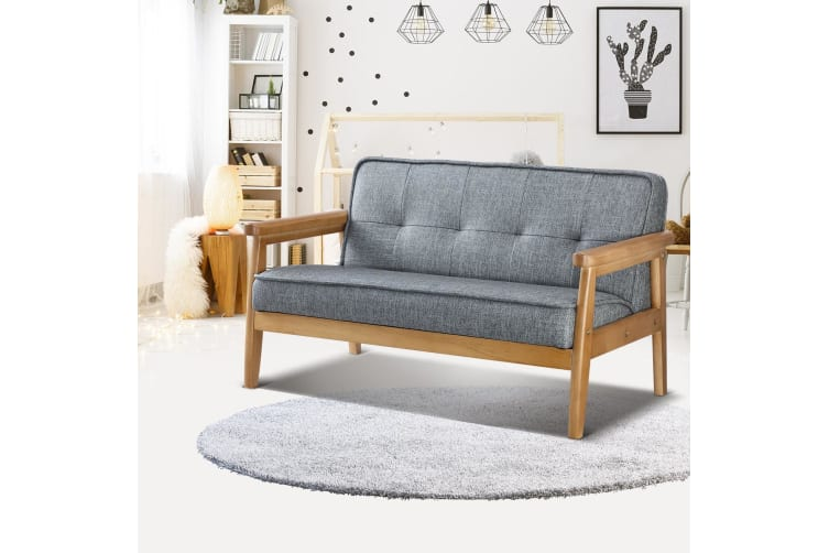 Kidbot Kids Toddler 2 Seater Sofa Couch Children Lounge Chair Wood Frame PU Double