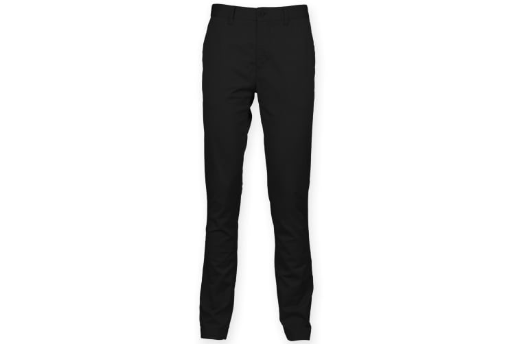 Front Row Mens Cotton Rich Stretch Chino Trousers (Black) (32L)