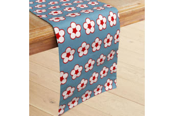 100% Cotton Printed Table Runner Cotton Bud Blue by IDC Homewares