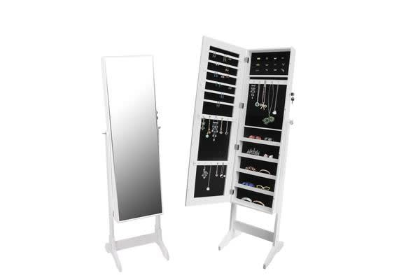Floor Standing Jewellery Cabinet with Full Length Mirror