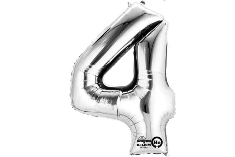 Anagram Mini Shape 16 Inch Silver Number Balloon (Silver) (5)