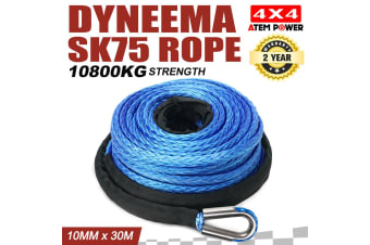 ATEM POWER Winch Rope 10MM x 30M Dyneema SK75 Hook Synthetic Car Tow Recovery Cable